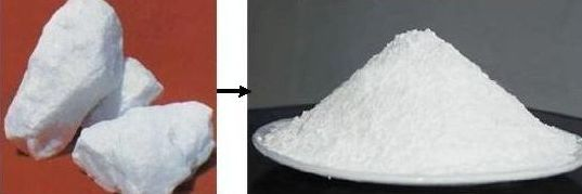 materials before and after grinding